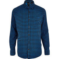 River Island MensBlue check long sleeve shirt