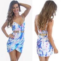 Printed Spaghetti Strap V-neck Belted Mini Bodycon Dress