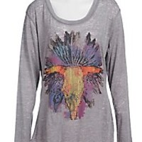 Rock & Roll Cowgirl Women's Grey with Skull & Feathers Long Sleeve Burnout Tee- Plus Sizes