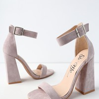 Shandi Lilac Suede Ankle Strap Heels