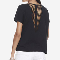 Black One Eleven Slash Back V-neck Tee from EXPRESS