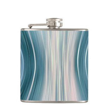 Aqua Futuristic Driving Dreams Vinyl Wrapped Flask