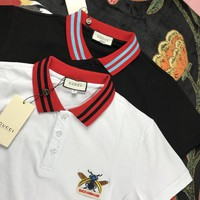 GUCCI bee embroidered red collar POLO