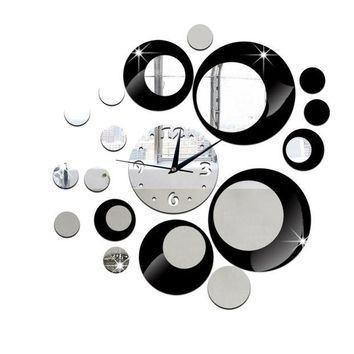 LMFLD1 DIY 3D Acrylic Wall Clock Mirror Stickers for Home Living Room Office Decor (Black)