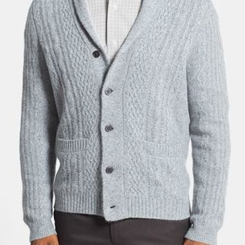 John W. Nordstrom Cable Knit Shawl Collar Cashmere