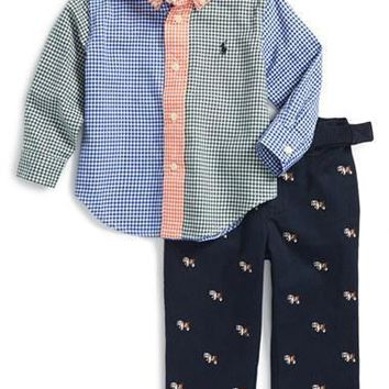 Infant Boy's Ralph Lauren Colorblock Gingham Woven Shirt & Embroidered Pants