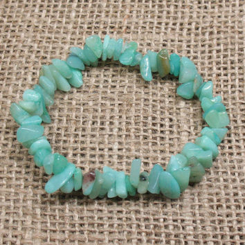 "Amazonite Chip Stretch Bracelet - 6.5"" - Item BR025"