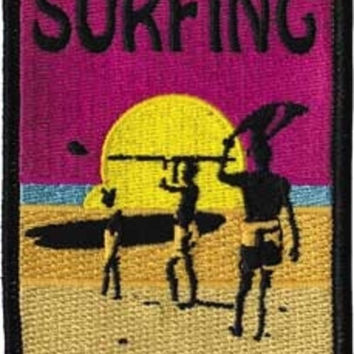 Surfing Iron-On Patch Rectangle Sun Surfer Logo