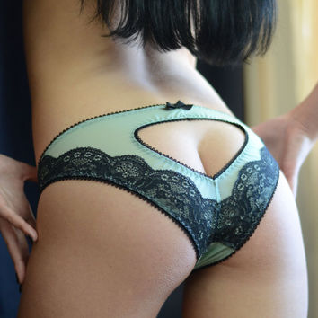 Clothing Shoes & Accessories Women's Clothing Inimates Panties Hearts and Bows Lingerie The Mint Mesh Heart Panties Made to Order