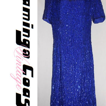 Vintage 80s Beaded Sequin Sparkly Royal Blue Evening Dress Short Petite Size Small