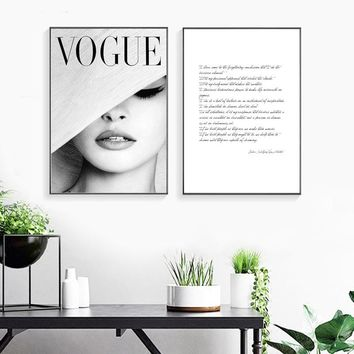 Nordic Abstract Girl VOGUE Black And White Two Pieces Posters And Prints Wall Art Canvas Painting Wall Pictures Art Unframed