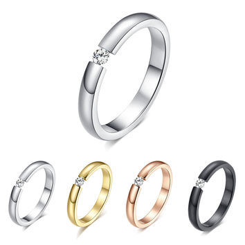 Fashion Jewelry White CZ Ring Anel Aneis Sz5-10 Simple Titanium Steel Couple Rings Black Silver Rose Gold Women Men Wedding Band