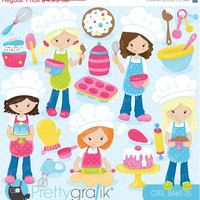 80% OFF SALE baking girls clipart commercial use, vector graphics, digital clip art, digital images, chef - CL746