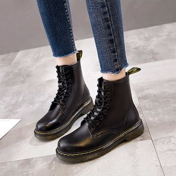 zwt ug Genuine Leather Women Ankle Boots Martin Boots Winter Work Safeti Shoes Solid Ankle Boots Female Punk Women Shoes