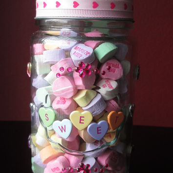 Valentine Apothecary Candy Jar ~ Glass Candy Jar on Glass Candle Holder base with Twin Hearts on Lid and Metal SweetHeart 'candy'  on jar