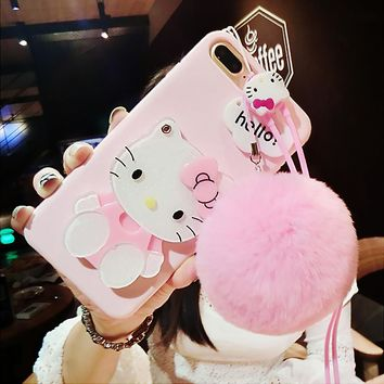 For iPhone 7 plus /X 8 6 6splus case pink Hello kitty For samsung galaxy s8 plus s6 s7 edge case cartoon cat mirror cover +rope
