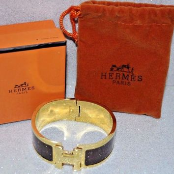 Authentic Hermes Wide H Clic Clac Brown Bourgogne & Gold HW Bangle Bracelet Box