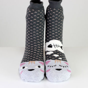 Cat Socks Hungry Cat Dream Fish Gray Ladies Casual Cotton Socks Women Girl Socks Women Socks Funny Socks Ankle Socks Animal Socks Fun Socks
