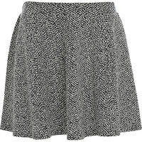 River Island Womens Black tweed skater skirt