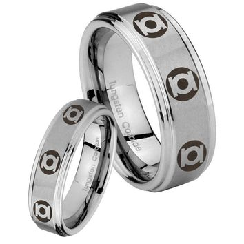 His and Hers Step Edge Multiple Green Lantern Tungsten Silver Wedding Rings Set