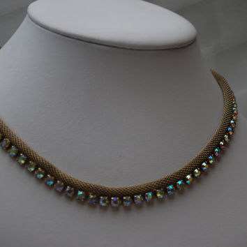 Vintage Weiss Ab Rhinestone gold mesh collar necklace