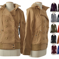Hooded Fleece Double Breasted Pea Coat Trench Coat Jacket Ribbed Hem
