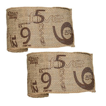 Vintage Numeral Pattern Burlap Ribbon 6-in x 10-ft (2 Pack) (Chocolate Print)