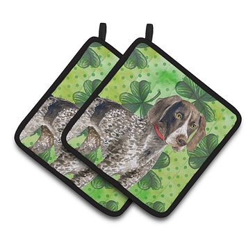 German Shorthaired Pointer St Patrick's Pair of Pot Holders BB9815PTHD