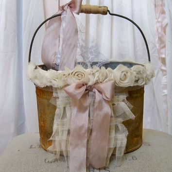Rustic flower girl basket Rusty decorated metal pail DIY wedding alternative shabby chic home decor Anita Spero
