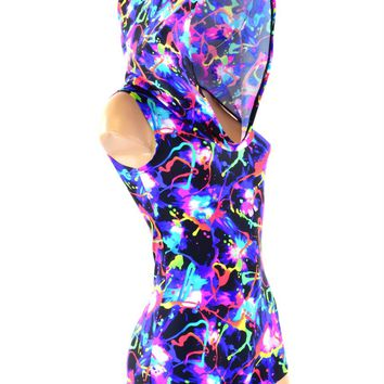 Neon UV Glow Paint Fling Print Sleeveless Hoodie Romper