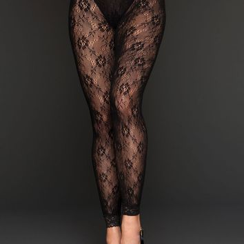 Floral Lace Footless Tights (One Size,Black)