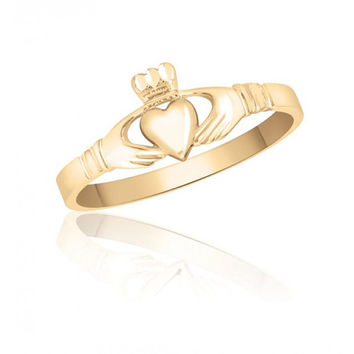 10K Yellow Gold Ladies Claddagh Ring