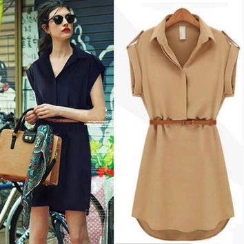 Fashion Women Short Sleeve Chiffon Casual OL Belt Shirt One Piece Mini Dress = 1958345284