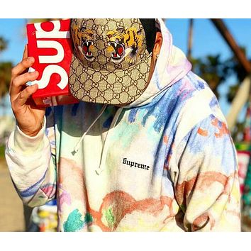 Supreme Landscape Hooded Watercolor Painting Tie-Dye Sweater Sweatshirt Top I12730-1