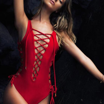 Red Lace-up One-Piece Swimsuits