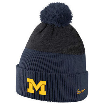 NCAA Michigan Wolverines Navy New Day Puffed Pom Knit Hat