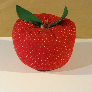 Vintage Bright Red Apple Pin Cushion with Tiny White Polka Dots