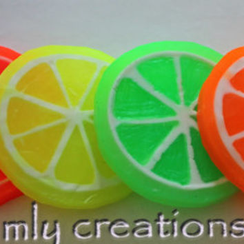 Lemon Soap,Citrus Slice Soap, Glycerin soap,Summer Soap, Fruit slice, Lime, Grapefruit, Orange,Wedges, food soap, novelty soap, party favors