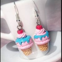 Cherry Ice Cream Earrings - Cupcake Cute Kawaii Miniature - Sprinkles Heart Cup Cake Frosting - Mini Miniature Jewelry Sweet Colorful