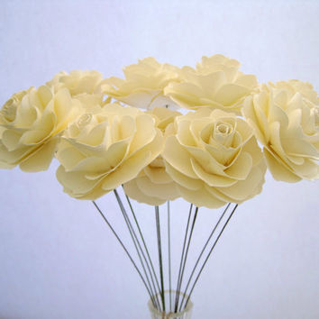 Set of 12 Ivory Paper Roses, Ivory Paper Flowers, Stem Flowers, Summer Wedding Decoration, Ivory Paper Wedding Decor, Table Centerpiece