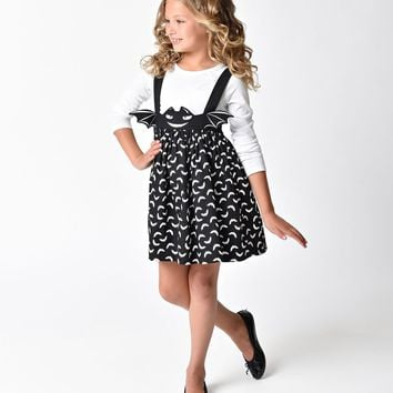 Unique Vintage Kids Sabrina Black Bat Suspender Skirt