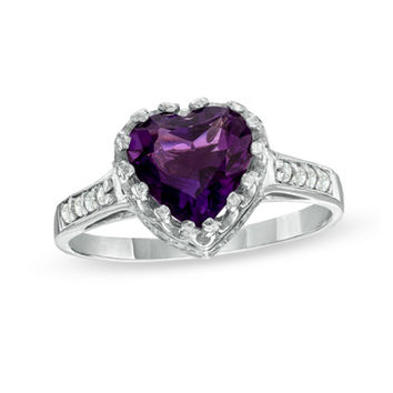 8.0mm Heart-Shaped Amethyst and White Topaz Crown Ring in Sterling Silver