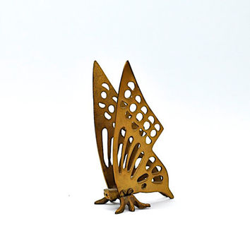 Cute Vintage Brass Butterfly Figurine - Butterfly Decor - Brass Decor - Insect Decor - Letter Holder