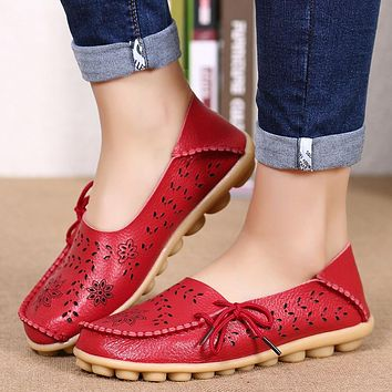 Womens Flats Loafers  Women Real Leather Shoes Moccasins Mother Loafes Soft Women Brand Shoes  Woman Soft Sole red black
