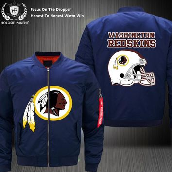 Dropshipping USA Size Men MA-1 Jacket Football Team Washington Redskins Flight Jacket Costume Design Printed Bomber Jacket made