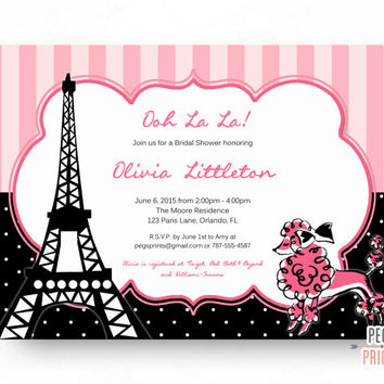 pink paris bridal shower invitation printable french poodle bridal shower invites french bridal