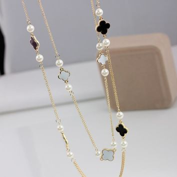 Chain Korean Fashion Pearl Long Necklace