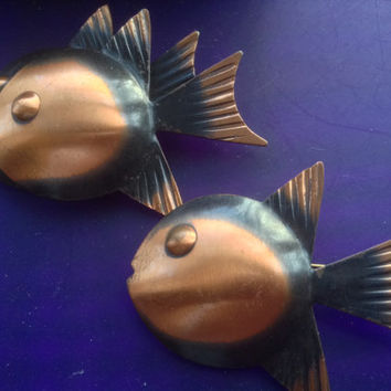 Rebajes Copper Fish Brooch Pins 50s Double Twin Mid-Century Rare Modernist vintage jewelry Estate art iconic collectible Pisces large domed