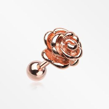 Rose Gold Steel Rose Blossom Cartilage Tragus Earring