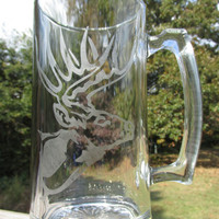 Personalized / Etched Glass / Beer Stein Mug / w/ Whitetail Deer / Hunters Outdoorsman / Makes a Great Gift for any outdoor enthusiast